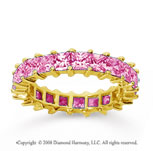 3 1/2 Carat Pink Sapphire 18k Yellow Gold Princess Eternity Band