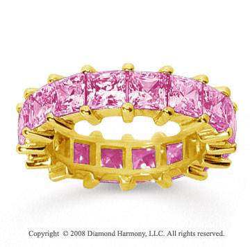 6 1/2 Carat Pink Sapphire 18k Yellow Gold Princess Eternity Band