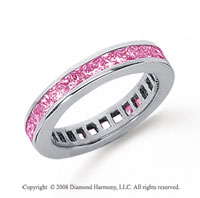 3/4 Carat Pink Sapphire Platinum Princess Channel Eternity Band