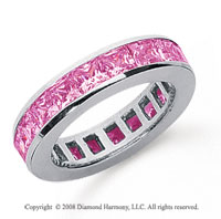 2 1/2 Carat Pink Sapphire Platinum Princess Channel Eternity Band