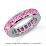 4 Carat Pink Sapphire Platinum Princess Channel Eternity Band