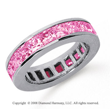 4 3/4 Carat Pink Sapphire Platinum Princess Channel Eternity Band