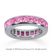 3 1/2 Carat Pink Sapphire 14k White Gold Princess Channel Eternity Band