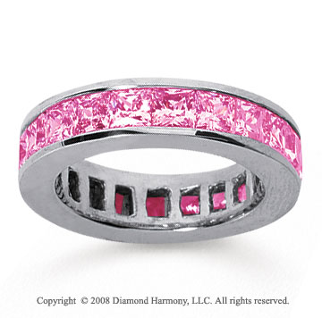 4 3/4 Carat Pink Sapphire 14k White Gold Princess Channel Eternity Band
