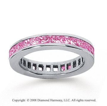 1 Carat Pink Sapphire 18k White Gold Princess Channel Eternity Band