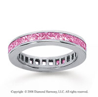 1 1/2 Carat Pink Sapphire 18k White Gold Princess Channel Eternity Band