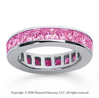 2 Carat Pink Sapphire 18k White Gold Princess Channel Eternity Band