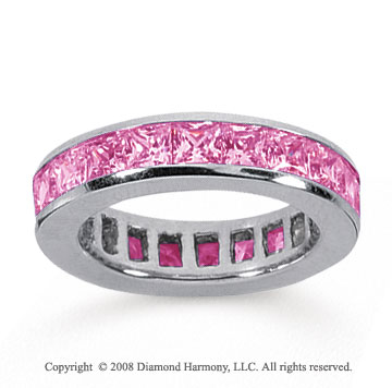 4 Carat Pink Sapphire 18k White Gold Princess Channel Eternity Band