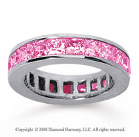 4 3/4 Carat Pink Sapphire 18k White Gold Princess Channel Eternity Band