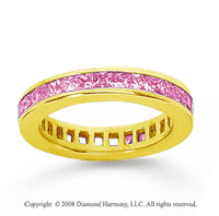 1 1/2 Carat Pink Sapphire 14k Yellow Gold Princess Channel Eternity Band