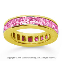 4 3/4 Carat Pink Sapphire 14k Yellow Gold Princess Channel Eternity Band