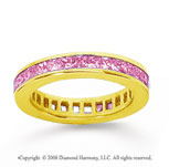 1 Carat Pink Sapphire 18k Yellow Gold Princess Channel Eternity Band