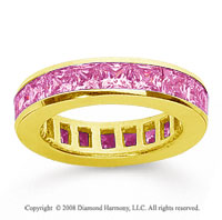 2 Carat Pink Sapphire 18k Yellow Gold Princess Channel Eternity Band