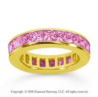 4 Carat Pink Sapphire 18k Yellow Gold Princess Channel Eternity Band