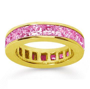 4 3/4 Carat Pink Sapphire 18k Yellow Gold Princess Channel Eternity Band