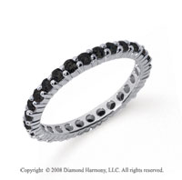 3/4 Carat Black Diamond Platinum Round Eternity Band
