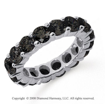 5 Carat Black Diamond Platinum Round Eternity Band