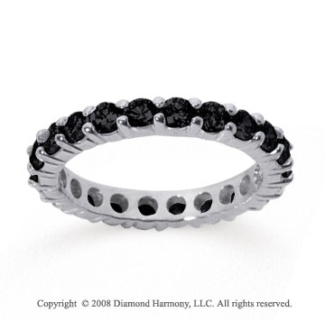 1 1/2 Carat Black Diamond 14k White Gold Round Eternity Band