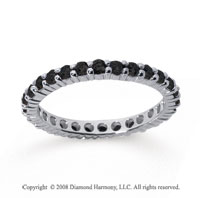 3/4 Carat Black Diamond 18k White Gold Round Eternity Band