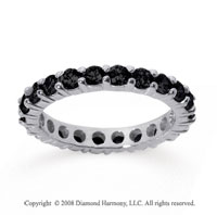 2 Carat Black Diamond 18k White Gold Round Eternity Band