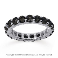3 Carat Black Diamond 18k White Gold Round Eternity Band