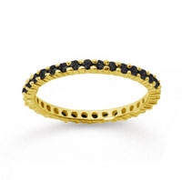 1/2 Carat Black Diamond 14k Yellow Gold Round Eternity Band