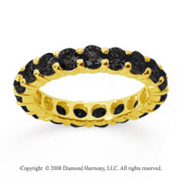 3 Carat Black Diamond 14k Yellow Gold Round Eternity Band