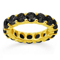 5 Carat Black Diamond 14k Yellow Gold Round Eternity Band