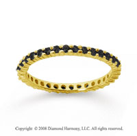 1/2 Carat Black Diamond 18k Yellow Gold Round Eternity Band