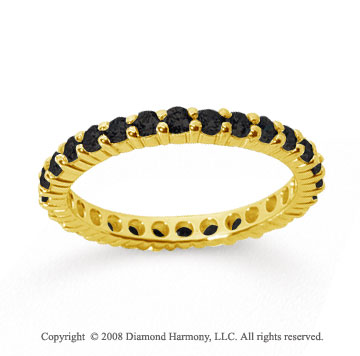1 Carat Black Diamond 18k Yellow Gold Round Eternity Band