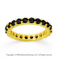 1 1/2 Carat Black Diamond 18k Yellow Gold Round Eternity Band
