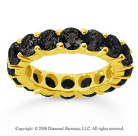 5 Carat Black Diamond 18k Yellow Gold Round Eternity Band