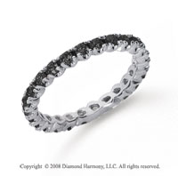 3/4Carat Black Diamond Platinum Round Four Prong Eternity Band