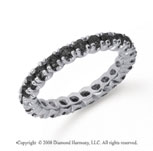 1 Carat Black Diamond Platinum Round Four Prong Eternity Band
