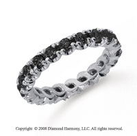 1 1/2 Carat Black Diamond Platinum Round Four Prong Eternity Band