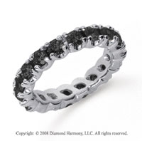 2 Carat Black Diamond Platinum Round Four Prong Eternity Band
