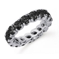 3 Carat Black Diamond Platinum Round Four Prong Eternity Band