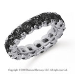 4 1/2 Carat Black Diamond Platinum Round Four Prong Eternity Band