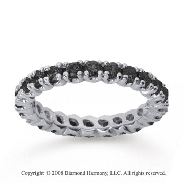 1 Carat Black Diamond 14k White Gold Round Four Prong Eternity Band