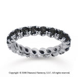 1 1/2Carat Black Diamond 14k White Gold Round Four Prong Eternity Band