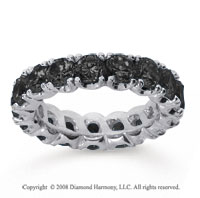 4 1/2Carat Black Diamond 14k White Gold Round Four Prong Eternity Band