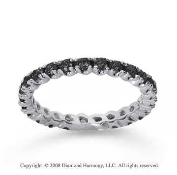 3/4 Carat Black Diamond 18k White Gold Round Four Prong Eternity Band