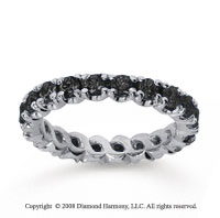 1 1/2Carat Black Diamond 18k White Gold Round Four Prong Eternity Band