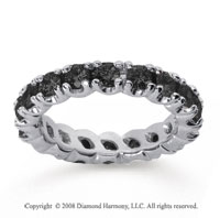 2 Carat Black Diamond 18k White Gold Round Four Prong Eternity Band