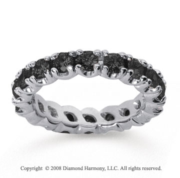 2 1/2Carat Black Diamond 18k White Gold Round Four Prong Eternity Band