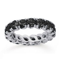 3 1/2Carat Black Diamond 18k White Gold Round Four Prong Eternity Band