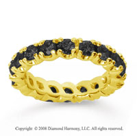 2 1/2Carat Black Diamond 14k Yellow Gold Round Four Prong Eternity Band