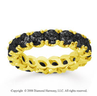 3 1/2Carat Black Diamond 14k Yellow Gold Round Four Prong Eternity Band