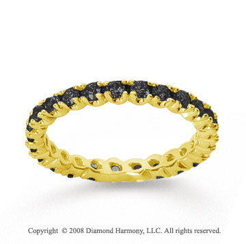 3/4 Carat Black Diamond 18k Yellow Gold Round Four Prong Eternity Band