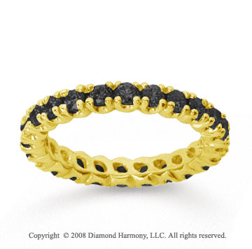 1 Carat Black Diamond 18k Yellow Gold Round Four Prong Eternity Band